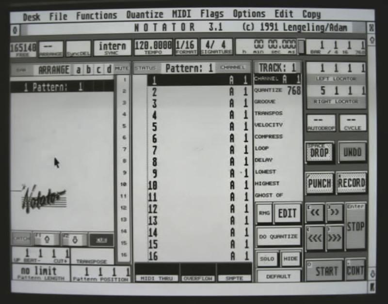 Notator main screen
